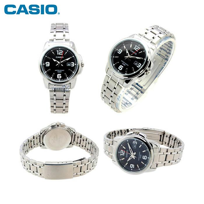 SHOP NOW! Casio LTP-1314D-1A Black Dial Stainless Steel Analog Ladies