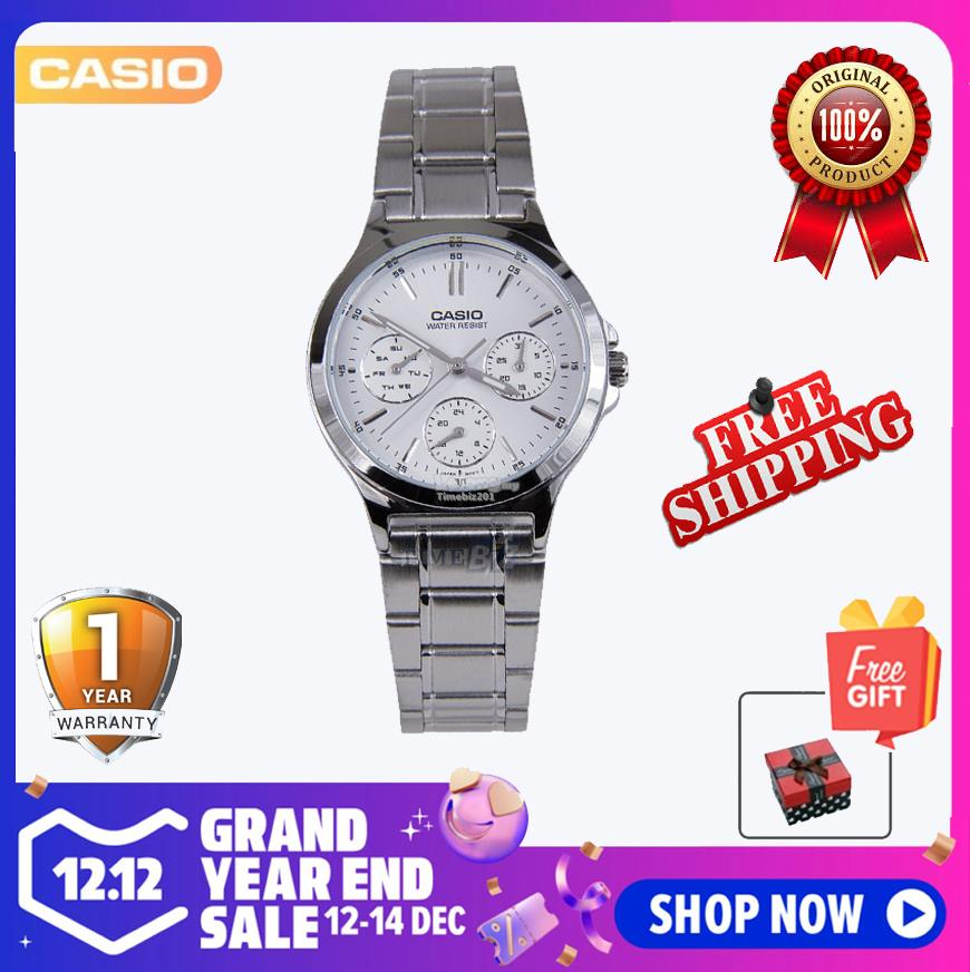 SHOP NOW! Casio LTP-V300D-7AV Ladies Stainless Steel Band Analog Watch