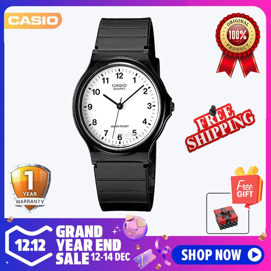 SHOP NOW! Casio MQ-24-7B White Dial Black Resin Strap Analog Casual Wa