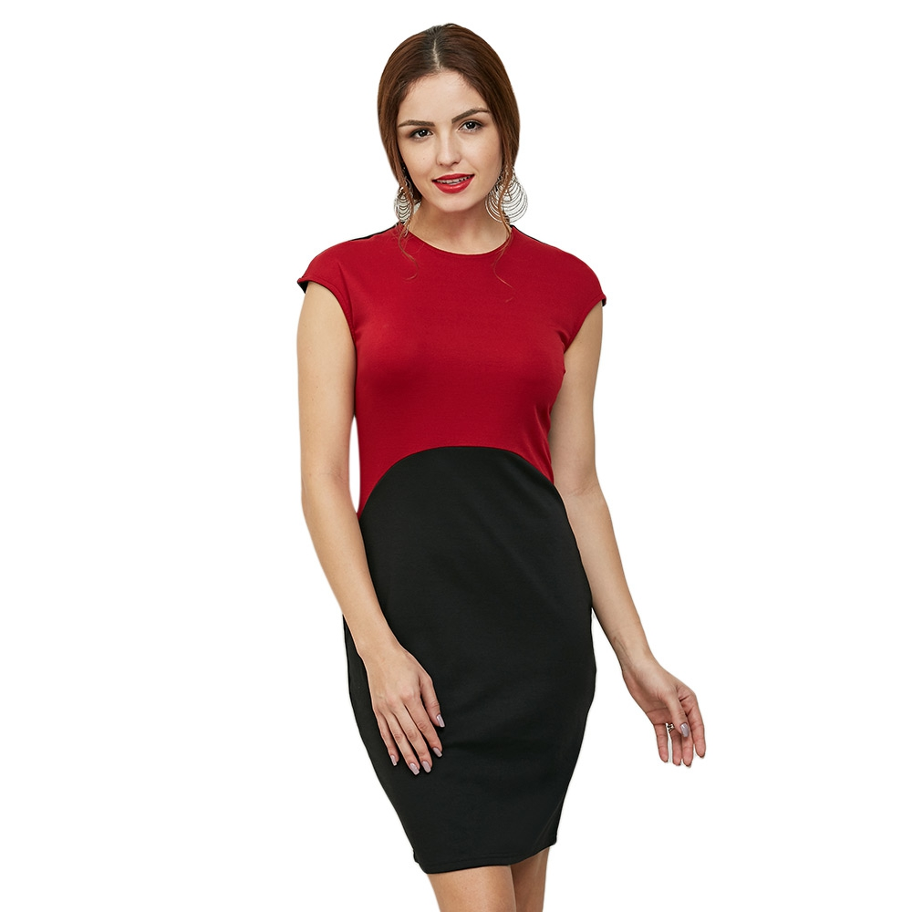 Brief Short Sleeve Round Collar Color Block Women Dress Red Size S M