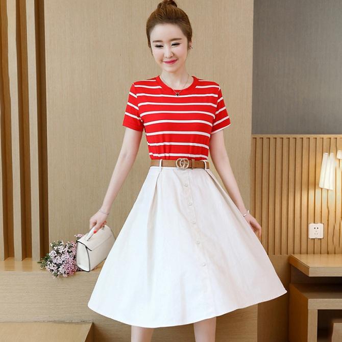 90352c25c13 Short Sleeve Stripe T Shirt Top and High Waist A Line Skirt Sets