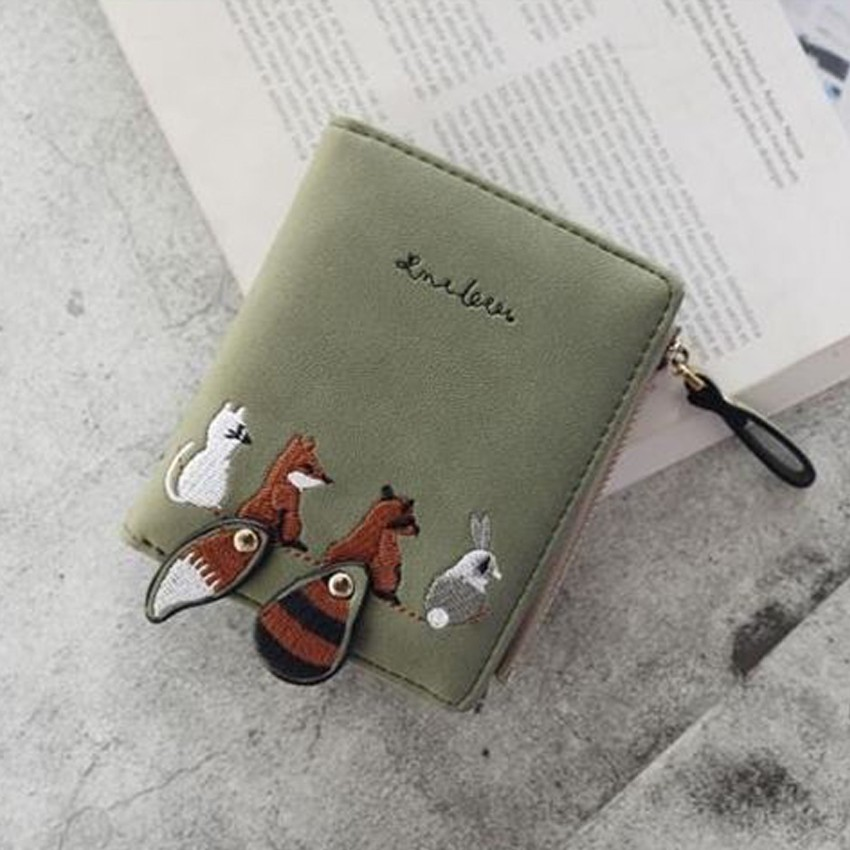 Short Wolf Wallet Coin Bag Phone Dompet Pouch Purse Cute