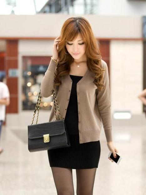 Show-slim V Long Sleeve Knit Jacket (Khaki)