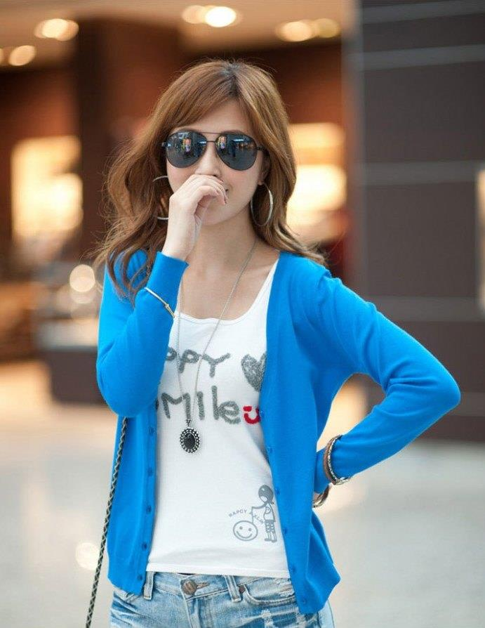Show-slim V Long Sleeve Knit Jacket (Lake Blue)