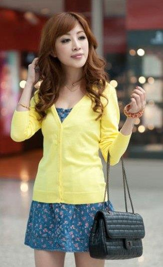 Show-slim V Long Sleeve Knit Jacket (Light Yellow)