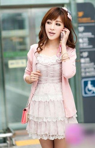 Show-slim V Long Sleeve Knit Jacket (Pink)