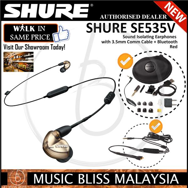 29868177376 Shure SE535 Sound Isolating Earphones w/3.5mm Cable + Bluetooth-Bronze. ‹ ›