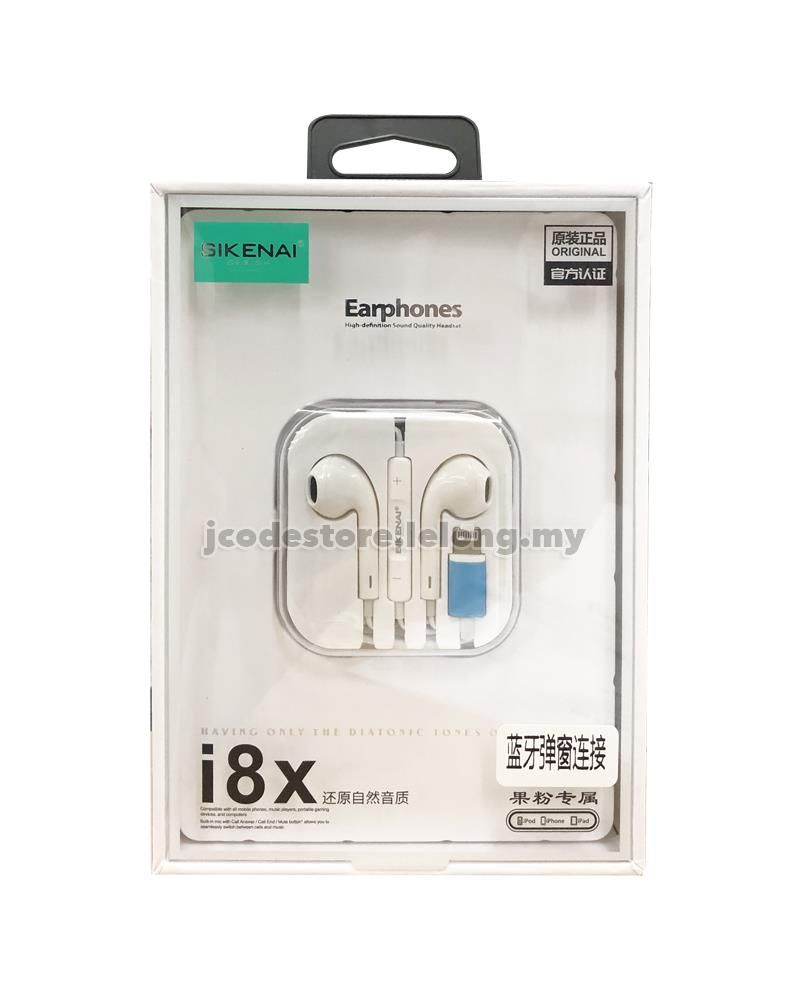 SIKENAI i8X Lightning Bluetooth EarPods Earphone Headset for iPhone
