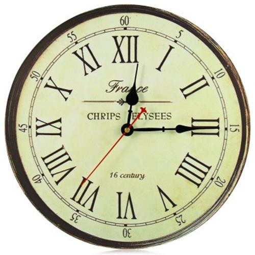 SILENT ANTIQUE WOODEN ROUND CLOCK WALL RUSTIC VINTAGE ROMAN NUMERALS D