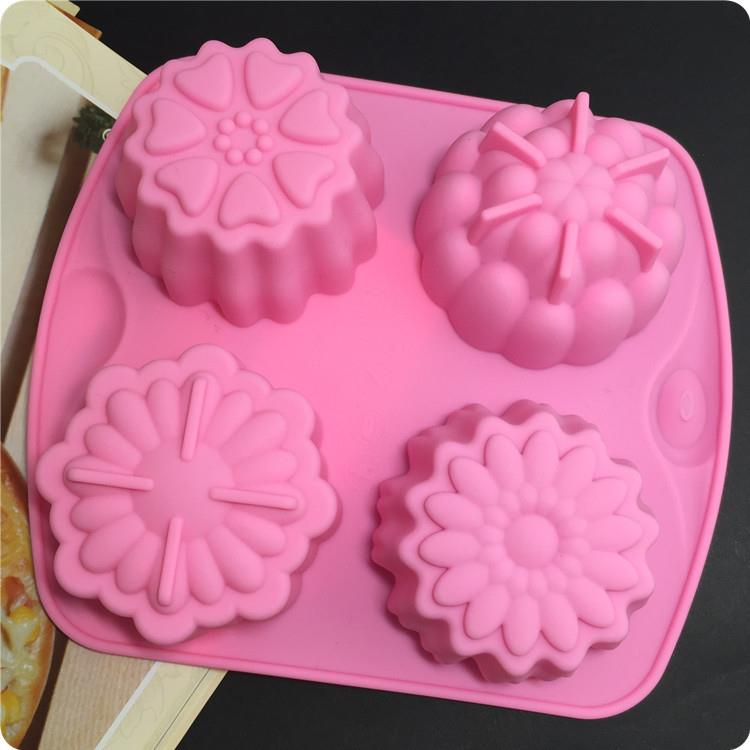Silicone 4 in 1 flower Design Baking /Choc/Jelly/Soap Mold