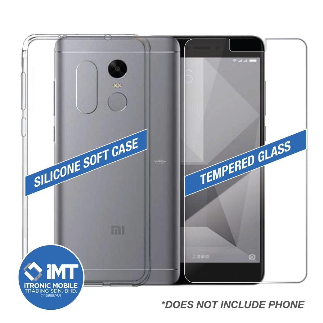 reputable site 787c8 152df Silicone Soft Case & Tempered Glass for XiaoMi RedMi Note 4 & Note 4X