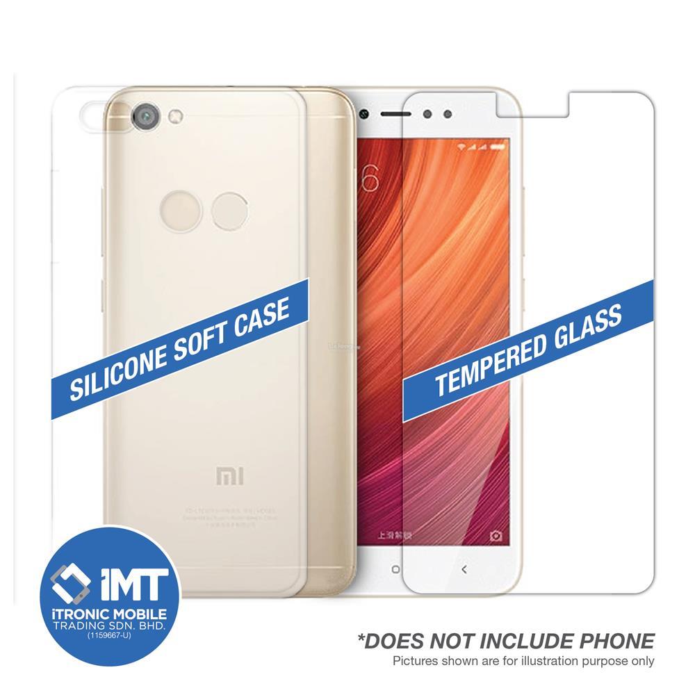 Silicone Soft Case & Tempered Glass for XiaoMi RedMi Note 5A Prime