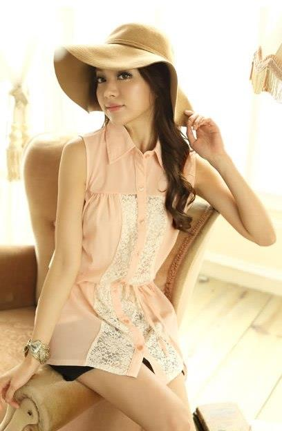 Silk Lace Shirt 12892 (Pink)