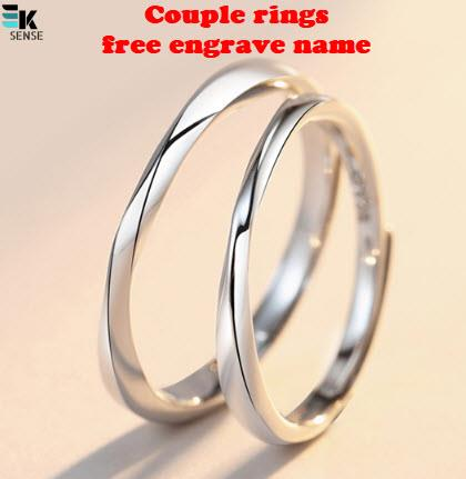 Silver 925 Couple Rings - Free Engrave Name (with box)