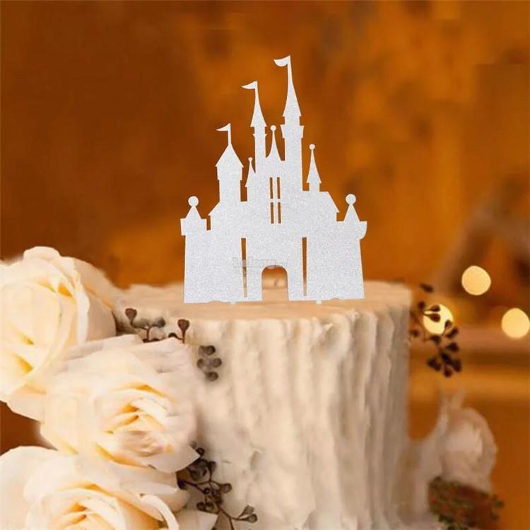 silver castle cake topper decoration