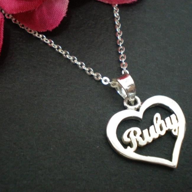 Silver custom made heart craft name end 6152017 940 pm silver custom made heart craft name necklace pendant ruby aloadofball Image collections