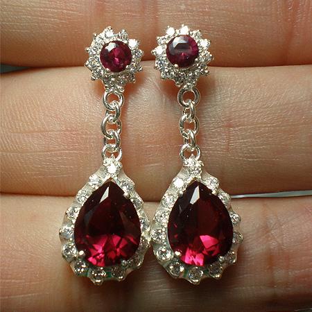 Silver Cz Ruby Drop Earrings Ea72051421l