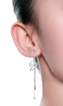 Silver Korea fashion drop earrings - Butterfly