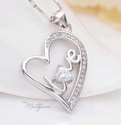 Silver love heart w white crystal Rhinestone pendant necklace