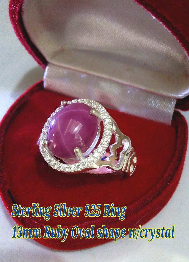 Silver Ring For Man#7-Ruby oval (end 10/18/2017 4:15 PM)