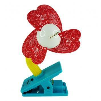 Simple Dimple Clip On Fan With LED Light - Red