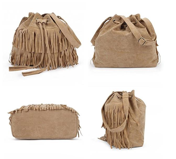 New Simple Retro Tassel Drawstring Bucket Fringed Bag