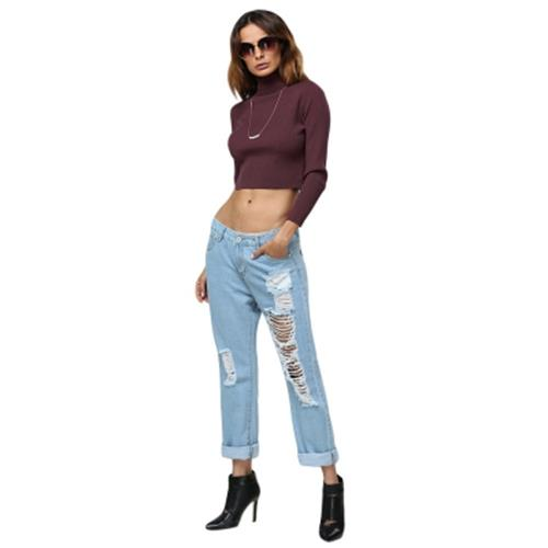 6ffa26bab0632e SIMPLE STYLE TURTLENECK PURE COLOR CROP TOP FOR WOMEN (WINE RED)