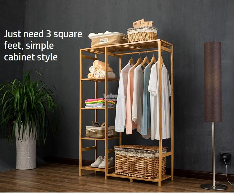 Simple Wooden Clothes Cabinet, Wood DIY Bed Room Rack Shelf
