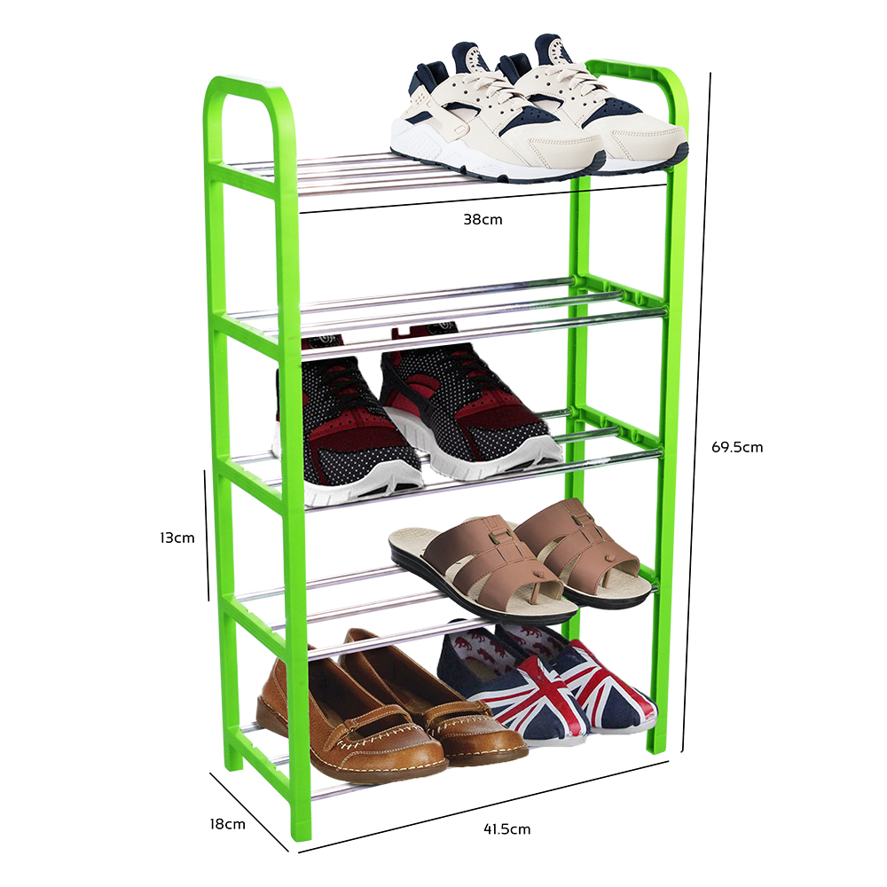 Simplify 5 Tier Shoes Rack Organizer Shoe Storage Space Saver (Green)