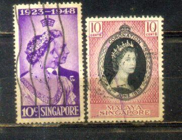 Singapore 2 Old Stamps