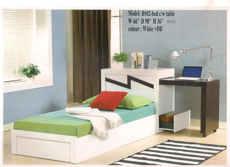 Single Bed With Study Table Model   BS02