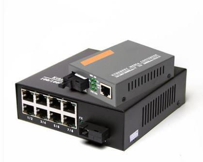 Single Mode Gigabit Fiber Media Converter + 8 Port Fiber Switch (S116)