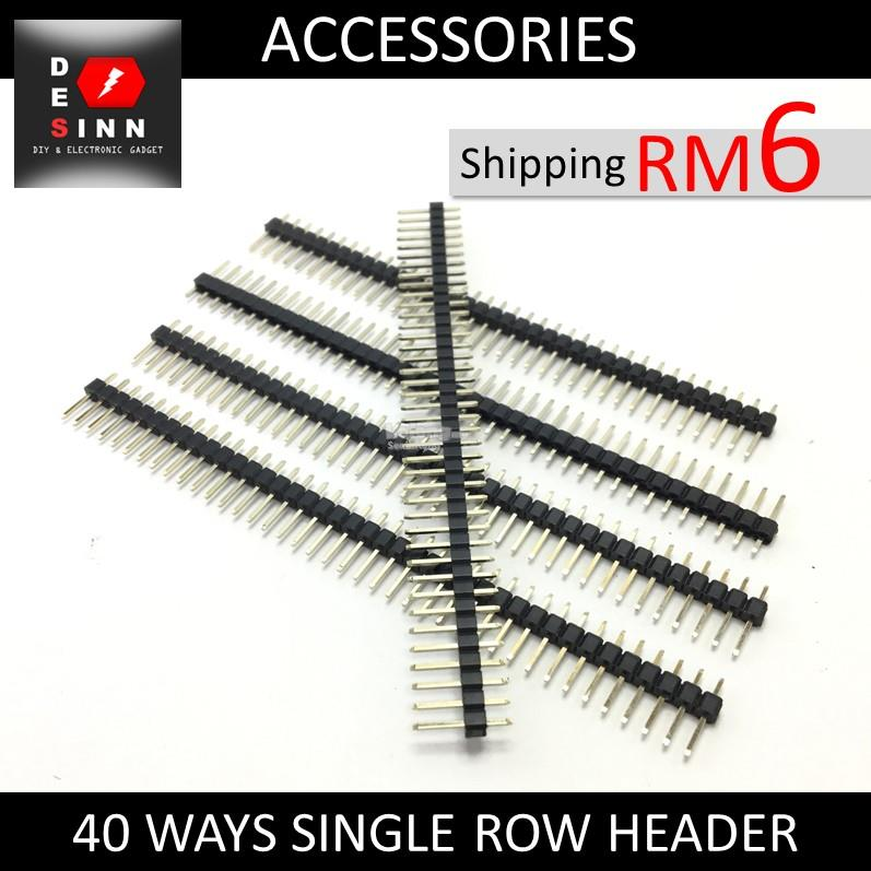 Single Row 40 Ways Male Pin Header Straight 2.54mm Pitch