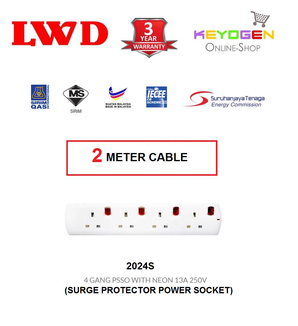 SIRIM Certified LWD 2024S-(2 Meter Cable) Trailing Socket 4 GANG