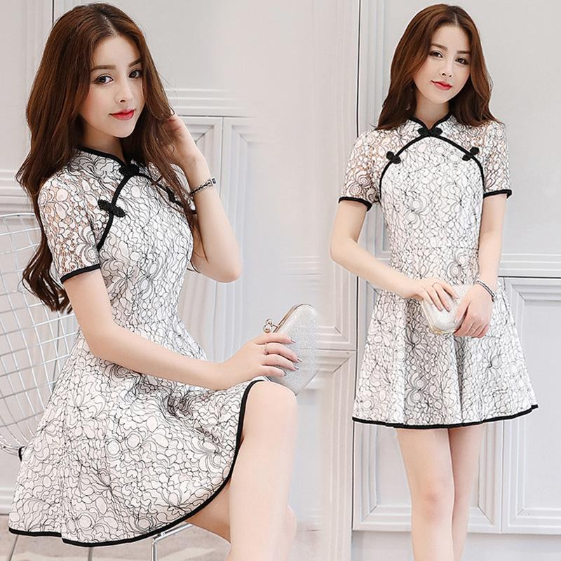 Size S-XL Vintage Cheong Sam Mini Dress