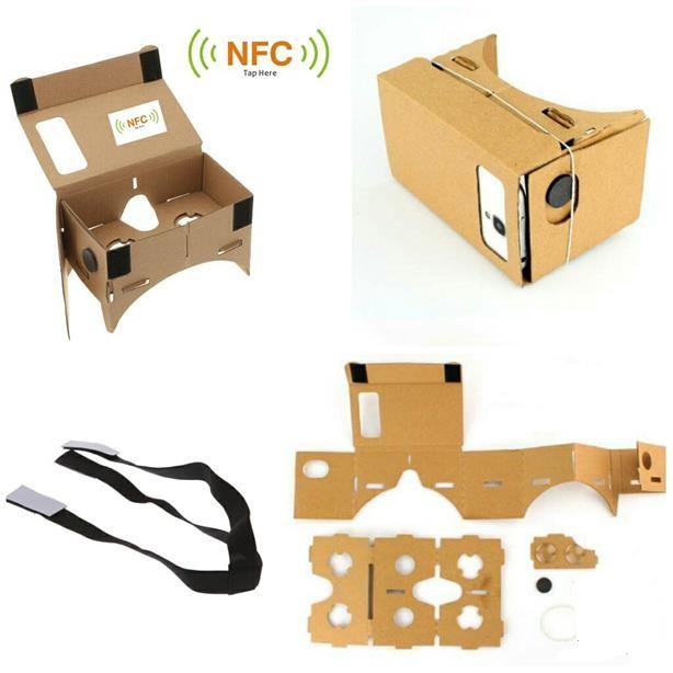 Size XL DIY Google Cardboard Virtual support 6' screen mobile + NFC