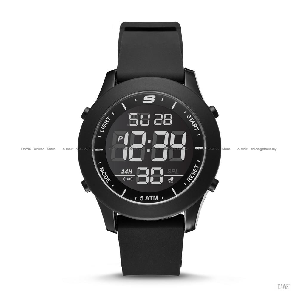 SKECHERS Watch SR5107 Men's Digital Negative Silicone Strap Black
