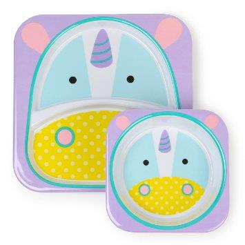 Skip hop Melamine Set - Divided Plate & Bowl Set Unicorn100% Authentic