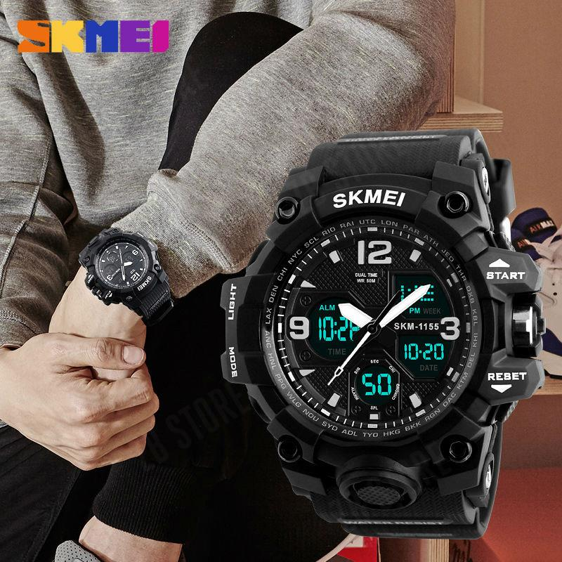 SKMEI 1155B Men Sport Watches Digital Chronograph Double Time Alarm