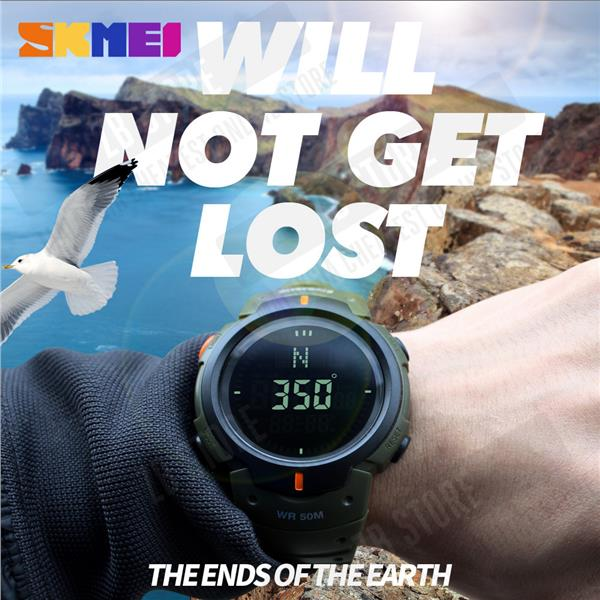 SKMEI 1231 Outdoor Sports Compass Watches Hiking Men Watch Digital LED