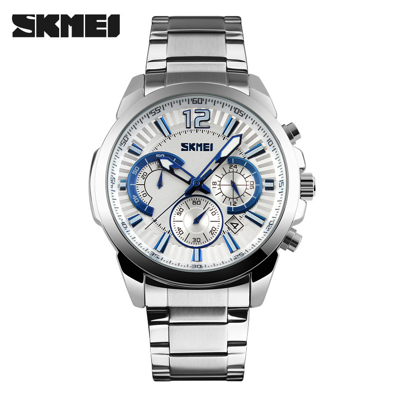 SKMEI 3 Subdial Date Men Watch SKM9108 Silver Blue