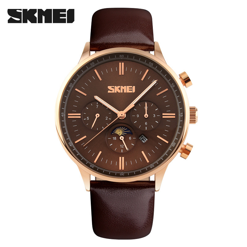 SKMEI 3 Subdial Date Quartz Men Watch SKM9117 GOLD BROWN