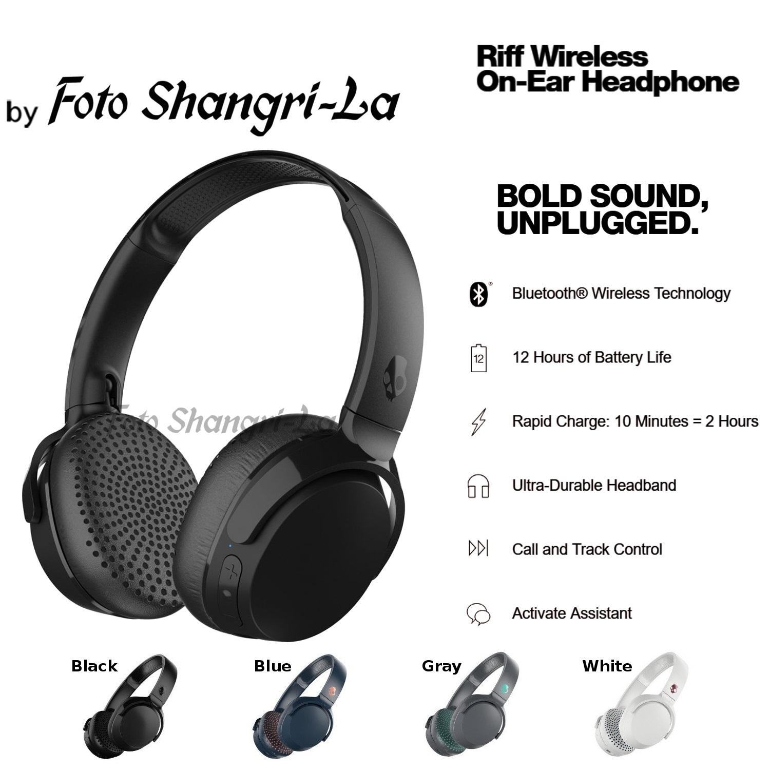Skullcandy Riff Wireless On-Ear Headphone With Fordable Ultra-Durable Headband