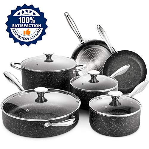 ~ SKY LIGHT Nonstick Cookware Set, 10 Piece Stone-Derived Cooking Pots and Pan