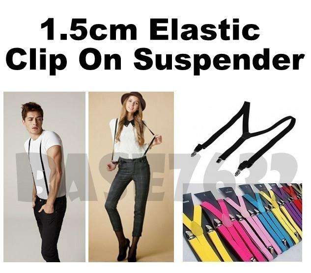 Slim  1.5cm Suspender  Adult Adjustable Clip-On Braces Y-Shape Elastic