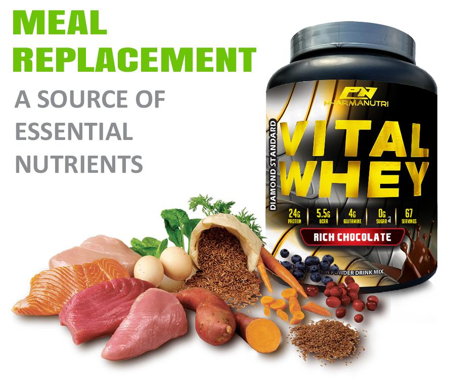 Slimming Diet Meal Replacement Shake Vital Whey Halal 2kg Shaker