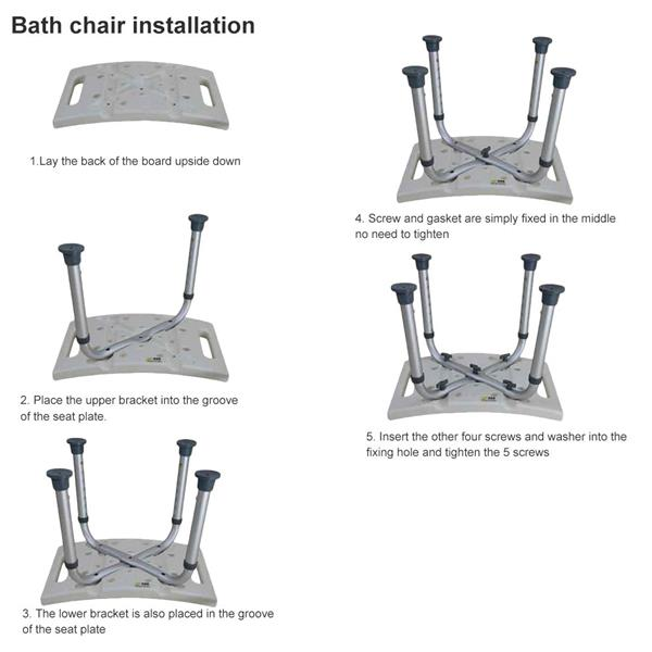 Non-slip Aluminium bath chair Shower Stool Seat Mobility Height Adjust