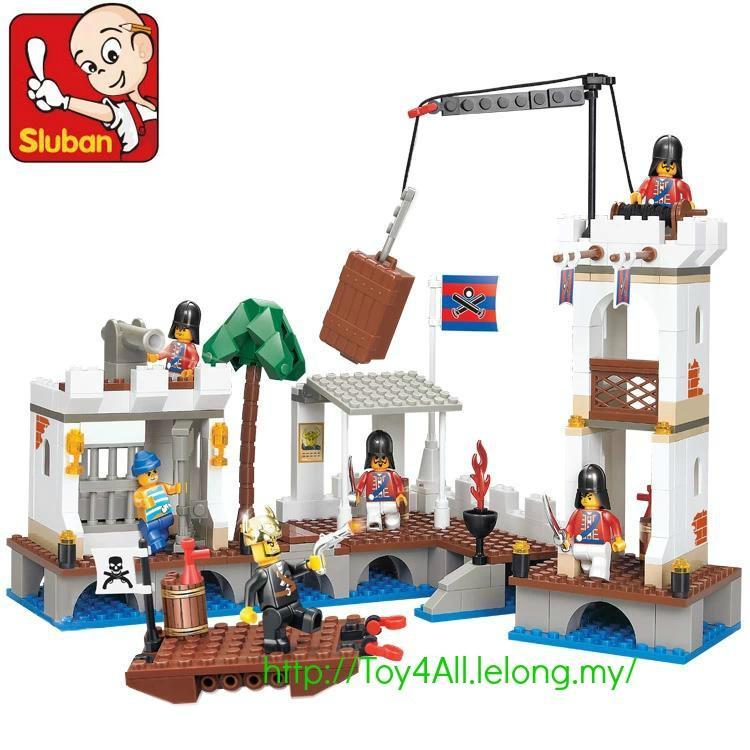 sluban pirate of carribean attack ship dock port royal lego brick - Lego Pirate