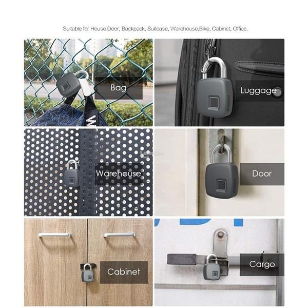 Smart Fingerprint Lock Portable Security Padlock Waterproof Anti-theft