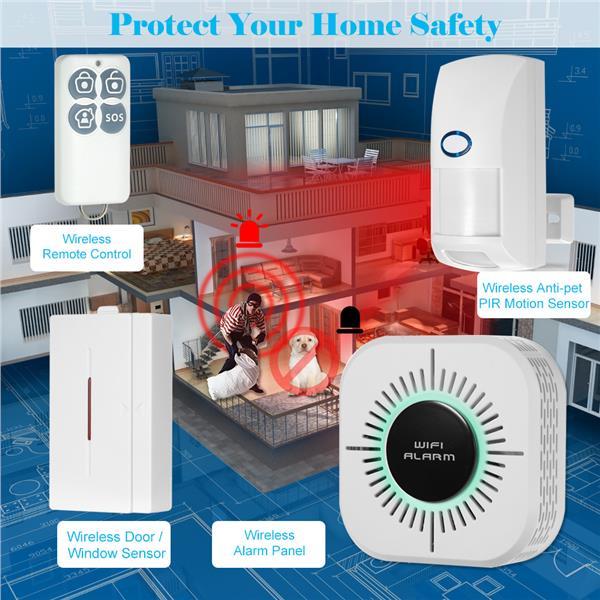 Smart Home WiFi Security Burglar Loud Siren Alarm System By Phone App